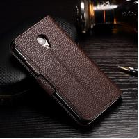 Crazy Horse Cell Phone Leather Wallet Case For Meizu 3s Light Brown Anti - Dirt Manufactures
