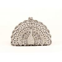 Sparkling Animal Women Stone Clutch Bag Hollow Out Peakcock Shaped Manufactures