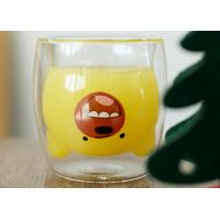 China Bear Head Shape Double Wall Glass Cup For Coffee Juice Handmade Mouth Blow on sale