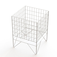 Knock Down 4 Sides Square Wire Basket Display Stand Manufactures