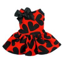 Red Cloth&Black Heart Pattern Pet Dog Wedding Dresses For Dog Manufactures