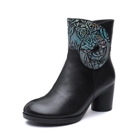 China S188 Manufacturers hand-painted three-dimensional flower leather autumn and winter new style women's boots high-heeled m on sale