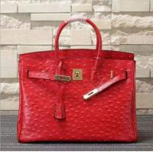 China women high quality 35cm red Ostrich handbag cow leather handbags fashion handbags L-RB4-17 on sale