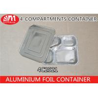 4C2521 Aluminium Foil Products 4 Compartment Foods Packing Container 850ml Volume Manufactures
