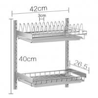 Two Tier Draining Rustless Stainless Steel Kitchen Rack With Chopstick Holder Manufactures