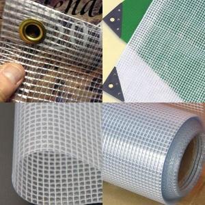 China clear vinyl coated tarps,Transparent mesh tarps on sale