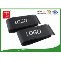 China Custom printed black touch tape hook and loop fastener straps 460 * 50 mm on sale
