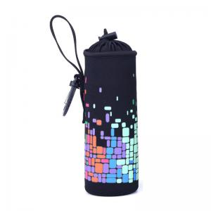 China Wholesale Custom Collapsible Neoprene Water Bottle Cover with Handle on sale