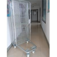 China 2 Way / 4 Way Enter Metal Storage Cages Roll Container Silver Colored on sale
