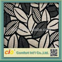 High End Flocking Sofa Upholstery Fabric , Leaf Design Chair Fabrics Manufactures