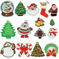 China Christmas Iron On Embroidered Sew On Badges Washable With Soft Ultrasonic Cut on sale