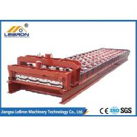 Red Color Glazed Tile Roll Forming Machine , CNC Control Roof Tile Forming Machine Manufactures