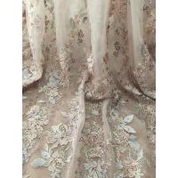 36 Inch Pearl Beaded Embroidery Lace Fabric By Yard For Haute Couture Wedding Gown Manufactures