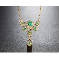 Buy cheap Natural Emerald Precious Stone Jewelry Peacock Pendant Necklace from wholesalers