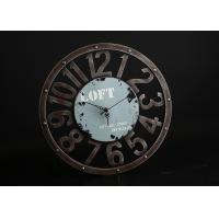 """Round Rust 15""""x15"""" Decorative Wall Clocks In Blue Background With Big Numbers Manufactures"""
