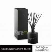 China Black round bottle glass reed diffuser with black sticker and folding box on sale