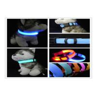 Personalized LED Nylon Webbing Glow Pet Collar , LED Dog Collar Lights Manufactures