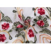 Embroidered Lace Dress Fabric , Corded Lace Fabric Floral Tulle For Dressmaking Manufactures