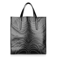 Flower Shape Studs Ornament Big Shopper Bag Ladies Tote Leather Bags Inside Pouch Bag No Lining Manufactures