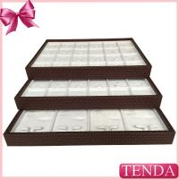 China Portable PU Synthetic Genuine Leather White Velvet Stacking Stackable Jewellery Jewellers Jewelry Trays on sale