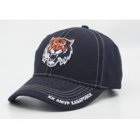 Dark Blue 3D Embroidered Cotton Baseball Caps With Bronze Metal Buckle Closure Manufactures
