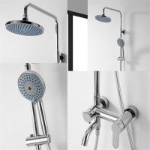 Brass Chrome Shower Mixer Set , Round Wall Mounted Shower Mixer Manufactures