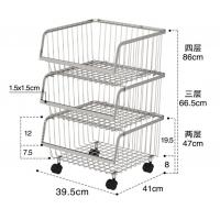 Stackable Rolling Steel Rack With Wheels , Metal Stainless Steel Kitchen Storage Shelves Manufactures