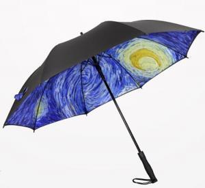 China Printed Collapsible Golf Umbrella , Wind Resistant Automatic UmbrellaPlastic Cap on sale
