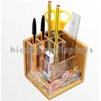 Countertop Stationery Wooden Display Racks Acrylic Wood Pen / Knife Display Stand Manufactures