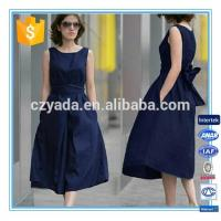 Quality Fashion Lady Sleeveless Flare Linen Cotton Long Dress For Plus size for sale