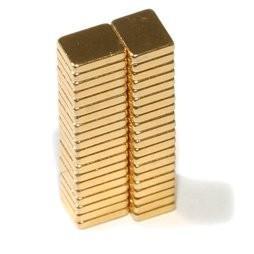 China N42 F5x4x1mm Gold Coating Neodymium Magnet Block Neodymium Magnets on sale