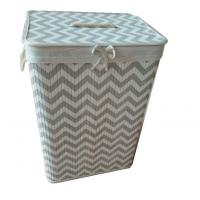 foldable bamboo laundry basket with beautiful pattern,removable liner, rectangle shape Manufactures