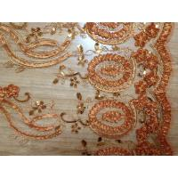 Khaki Chiffon Rose Flower Embroidery Fabric For Evening Dresses Manufactures
