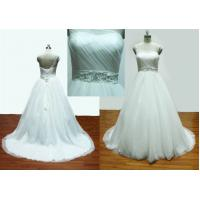 Ball Gown One Shoulder Real Sample Wedding Dresses / Bridal Gown With Beading Sash Manufactures