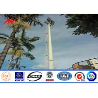 China 15m Powder Coated High Mast Outdoor Lamp Pole For Park Lighting Fixed Ladder on sale