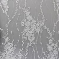 Delicate Embroidery Polyester On Nylon Mesh Lace Fabric With 3D Flower Design Manufactures