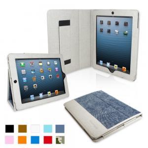 iPad 4 & iPad 3 Case - PU Leather Case Cover Blue Denim Manufactures