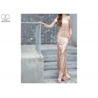China Long Sleeve Gold Sequin Mermaid Prom Dress Special Sequins Fabric Zipper No Tail on sale