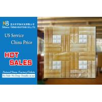 Pure white marble mosaic tiles mixed yellow onyx square background  tiles Manufactures