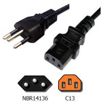 Brazil NBR14136 Plug to IEC C13 Appliance Power Cord Brazil laptop power cord with InMetro approval Manufactures
