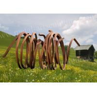 China Circle Shape Style Corten Steel Sculpture Modern Design as Lawn Decoration on sale