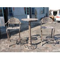 China Unique Metal Wrought Iron Cast Iron Garden Table And 2 Chairs Eco - Friendly on sale