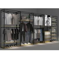 Modern Functional Retail Clothing Racks Optional Matte Black Coating Color Manufactures
