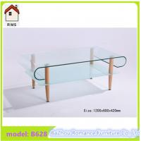 2015 new hot bending glass coffee table wood legs glass coffee table B628 Manufactures
