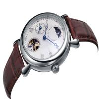 Stylish Germany Mens Brown Leather Strap Watches Mechanial Movt  Nick Free Manufactures