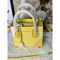 China New Knockoff Michael Kors Mercer Yellow Genuine Leather Women's Bag on sale