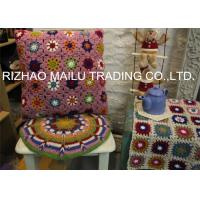Daisy Colorful Flower Hand Crochet Cushion Cover For Home Use , Pink Manufactures