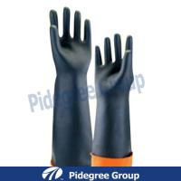 Muti-Grams Black Latex Industrial Gloves Durable With Long sleeve Manufactures