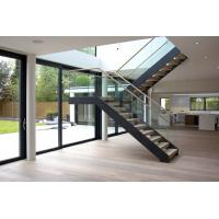 Interior wooden straight staircase with glass railing free design Manufactures