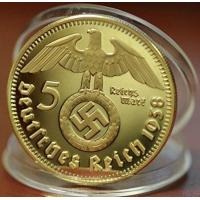 China German Gold Plated 1938 Iron Cross 5 Reichsmark Coin on sale